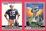 : 1990 Pro Set Football (Super Bowl #14) **** (2) Card Lot featuring Super Bowl MVP Terry Bradshaw and Super Bowl Program Cover (Steelers) (Rams)