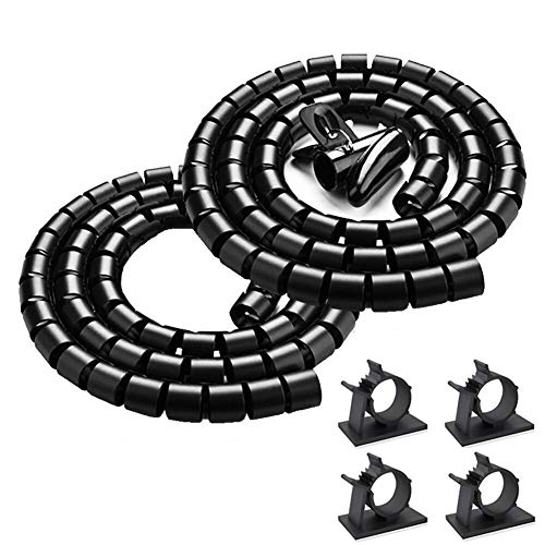 Black Cable Management Sleeve TV Computer Cord Organizer System 2 Pack, VIWIEU 59