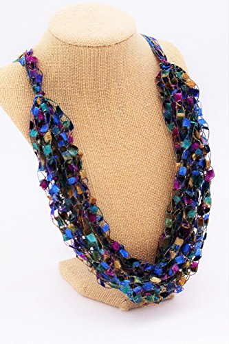 CROCHETLACES Adjustable LIGHTWEIGHT Soft Crochet Yarn Necklace Scarf- English Garden from Crochetlaces