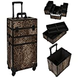 MUA LIMITED Professional Rolling 3 in 1 Makeup Beauty Trolley, Makeup Artist Case with 4 Detatchable Spinner Wheels, Customizable Cosmetic Storage Organiser in Aluminium Finish, Leopard