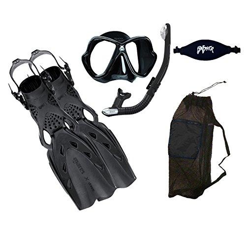 MARES X-Stream Fins X-Vision LiquidSkin Mask Ergo Dry Snorkel DXDiver Mask Strap Mesh Gear Bag Snorkeling Scuba Diving Size Large, Black
