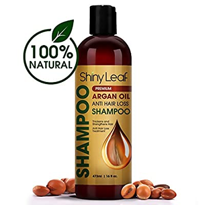 Shiny Leaf Argan Oil Shampoo – Premium Anti Hair Loss Shampoo Treatment With Organic Argan Oil, Thickens, Strengthens All Hair Types, Leaves Hair Smooth, Sulfate and Paraben Free, 16 oz (473 ml)