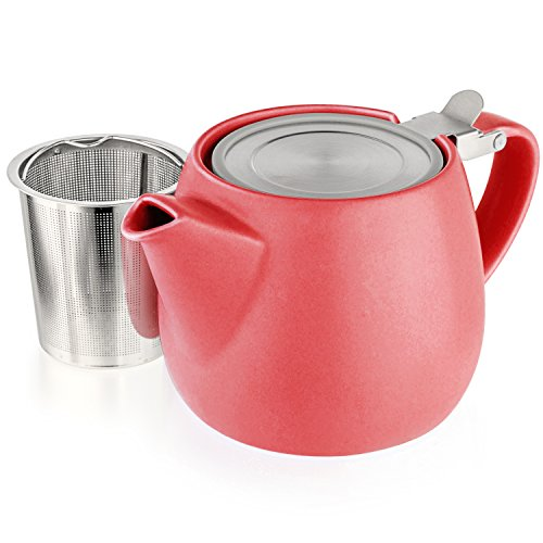 Tealyra - Pluto Porcelain Small Teapot Red - 18.2-ounce (1-2 cups) - Matte Finish - Stainless Steel Lid and Extra-Fine Infuser To Brew Loose Leaf Tea - Ceramic Tea Brewer - 540ml