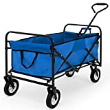 Deuba Blue Wagon Cart Garden Trolley Foldable Transport Portable Collapsible Pull Truck Wheelbarrow
