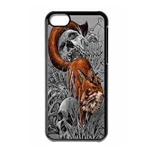 Chaap And High Quality Phone Case For Iphone 5c -Wolf And Moon Pattern-LiShuangD Store Case 3