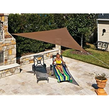 Coolaroo Ready To Hang Triangle Shade Sail Canopy, Mocha, 13 Feet