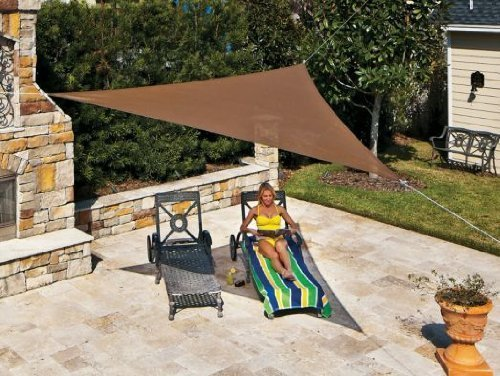 Coolaroo Ready-to-Hang Triangle Shade Sail Canopy, Mocha, 13 Feet