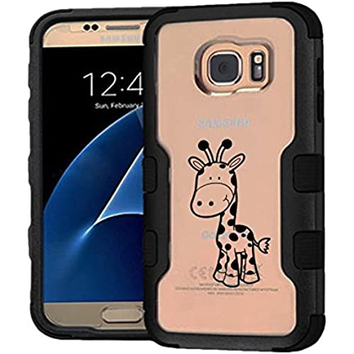 Galaxy S7 Case Cute Giraffe, Extra Shock-Absorb Clear back panel + Engineered TPU bumper 3 layer protection for Samsung Galaxy S7 (New 2016) Black Cover (Cute Sales