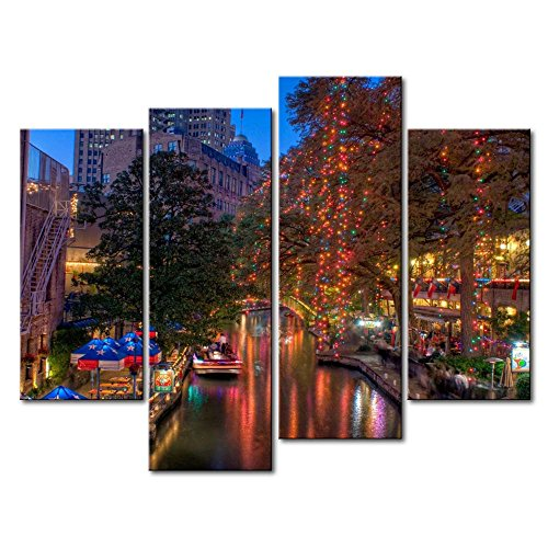 So Crazy Art 4 Panel Wall Art Painting San Antonio With Colorful Light Texas Pictures Prints On Canvas City The Picture Decor Oil For Home Modern Decoration Print For Kids Room -