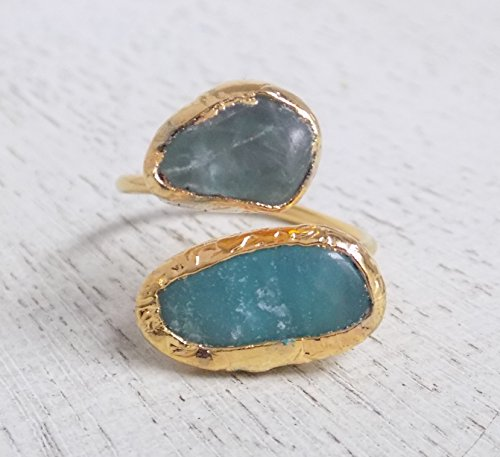 Green Tourmaline Amazonite Multi Stone Adjustable Ring Blue Green Crystal Ring Gold