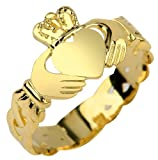 Ladies 14k Gold Claddagh Ring with Trinity Band