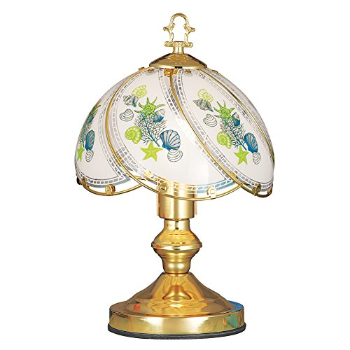 Coastal Seashell Glass Shade 3-way Touch Lamp for Bedside, Desk, Living - Glasses Seashell