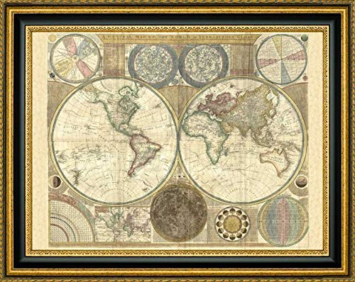 (Double Hemisphere map of The World 1794 by Samuel Dunn - 19.25