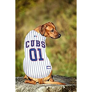 Pets First MLB CHICAGO CUBS Dog Jersey, Large. - Pro Team Color Baseball Outfit