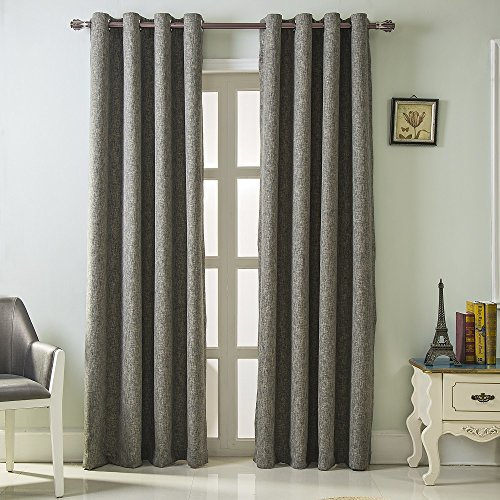 Best Dreamcity Faux Linen Blackout Curtains for Bedroom, Window Treatment, Room Darkening, Insulated, Grommet Top, Set of 2 Panels, W52