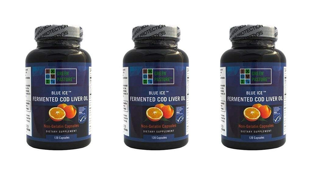 Blue Ice Fermented Cod Liver Oil Orange Flavor - 120 Caps (3 Pack)