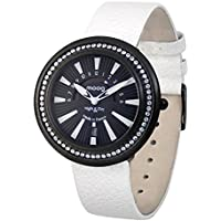 Moog Paris Night & Day Vogue Women's Watch with Black Dial, White Genuine Leather Strap & Swarovski Elements - M45562-004