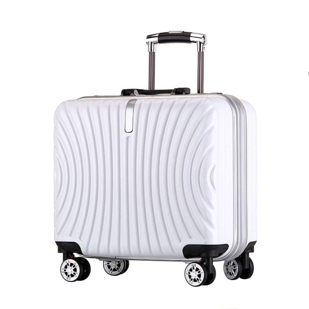 トロリーボックスユニバーサルホイールアルミフレーム旅行荷物18インチビジネス搭乗パスワードスーツケース (Color : 白, Size : 18 inch)   B07R5QRZYW
