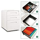 M&W 3 Drawer Mobile File Cabinet with Lock, Rhombic Edge Metal Filing Cabinet for Legal/Letter/A4 Size, Fully Assembled Except Wheels, White