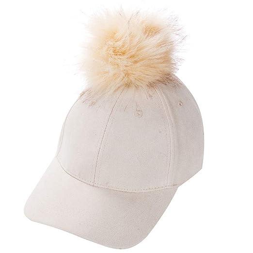 bd395c9ea53 EYIIYE Women Adjustable Suede Baseball Cap with Fur Pom Pom Winter Hip Hop  Hats (Beige