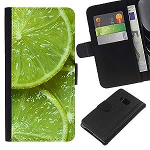 HTC One M9 Modelo colorido cuero carpeta tirón caso cubierta piel Holster Funda protección - Green Fresh Fruit Clean Spring Minimalist
