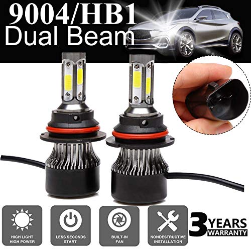 LED Headlight Bulb 9004 / HB1 Hi Lo Dual Beam 24000LM - 4 Sides COB Chips High Power 240W Super Bright 6000K White Headlamp/Fog Light/DRL Replacement Kit 3 Years Warranty - Package of 2