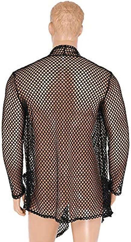 Feeshow męska kurtka z długim rękawem, siatka na ryby, kardigan, kurtka z dzianiny, przezroczysta, koszula siatkowa, Clubwear, bielizna erotyczna: Odzież