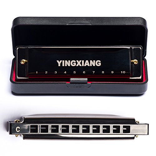 Harmonica, YINGXIANG Harmonicas, Standard Diatonic 10 Hole Blues Harp with Case, Suitable for Beginner, Key of C - Black
