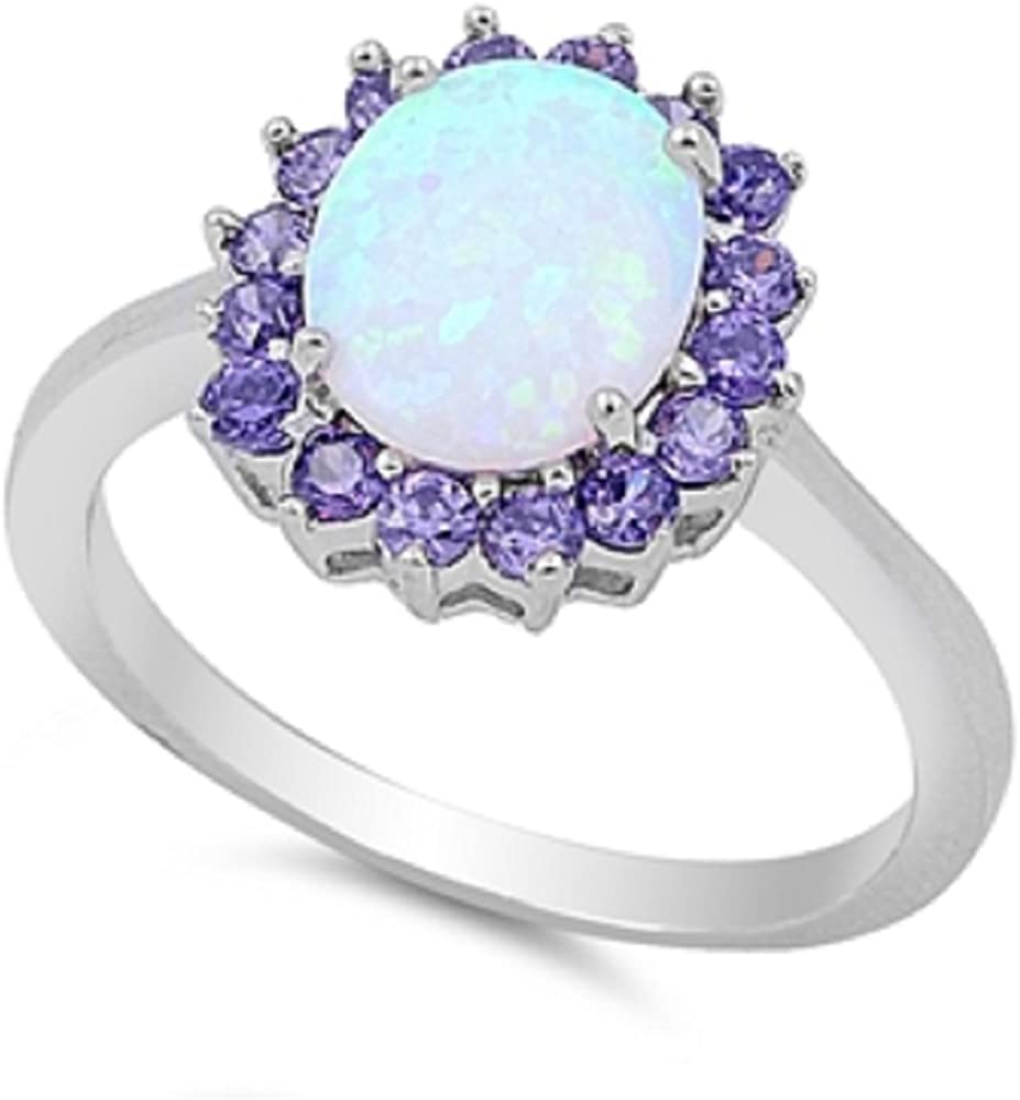 CloseoutWarehouse Sun Cluster White Simulated Opal 925 Sterling Silver Size 9