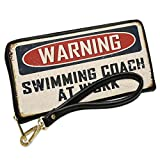 Wallet Clutch Warning Swimming Coach At Work Vintage Fun Job Sign with Removable Wristlet Strap Neonblond