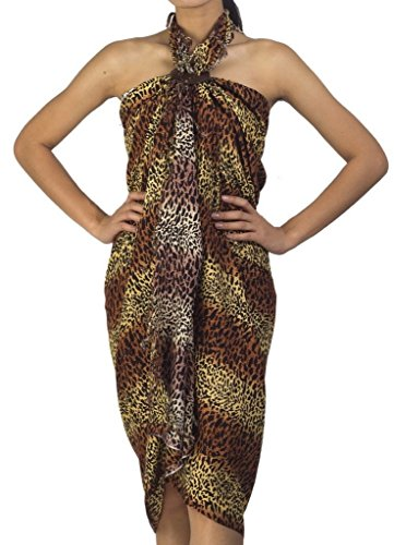 Siam Secrets Leopard Print Sarong wrap Two Tone Animal Cat Pareo or Shawl Brown Yellow