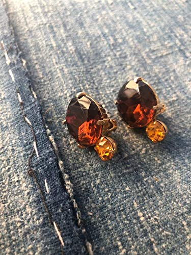 hongnguyen Vintage Citrine Rhinestone Clip On Earrings, Weiss, Rhinestone Earrings, Clip On Earrings, Bridal Jewelry, Vintage Clip Ons, Citrine