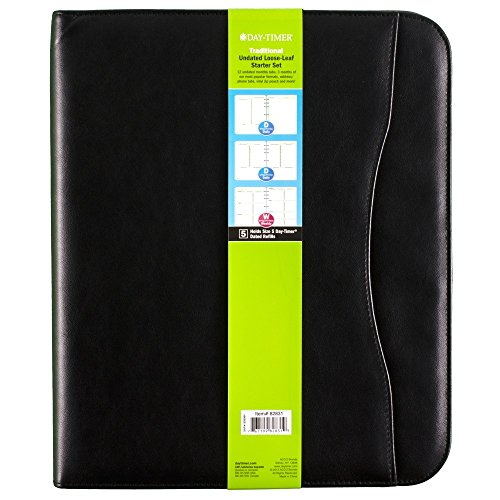 Day-Timer Undated Loose-Leaf Starter Set, Size 5, Avalon Simulated Leather, 8.5 x 11 Inch Page Size, Black (82831-01A)
