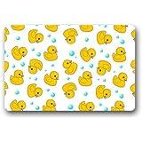 """Non-woven Fabric Little Yellow Ducky and Blue Dots Art Pattern Door Mat Indoor/Outdoor/Bathroom Doormat Rugs for Home/Office/Bedroom 23.6""""(L) x 15.7""""(W)"""