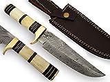 AishaTech Harpoon Hunting knife Damascus steel blade Bone handle For Sale