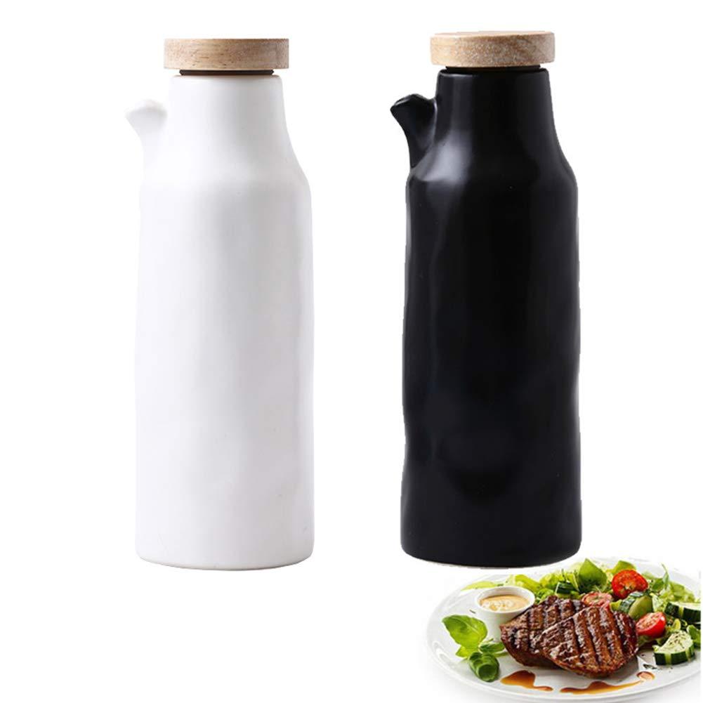 MAI&BAO Oil Vinegar Bottle Pot Dispenser Kitchen Ceramics Olive Sauce Dispenser Dust Proof and Leak-Proof with Pouring Spout Wooden Bottle Cap Prevents Oxidation 400ML,Black&White