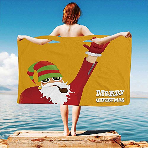 (iPrint Indie Quick Dry Plush Microfiber (Towel+Square Scarf+Bath Towel) Biker Santa Claus Smoking Pipe with Hand Gesture Party Christmas Cartoon Decorative and Adapt to Any Place)