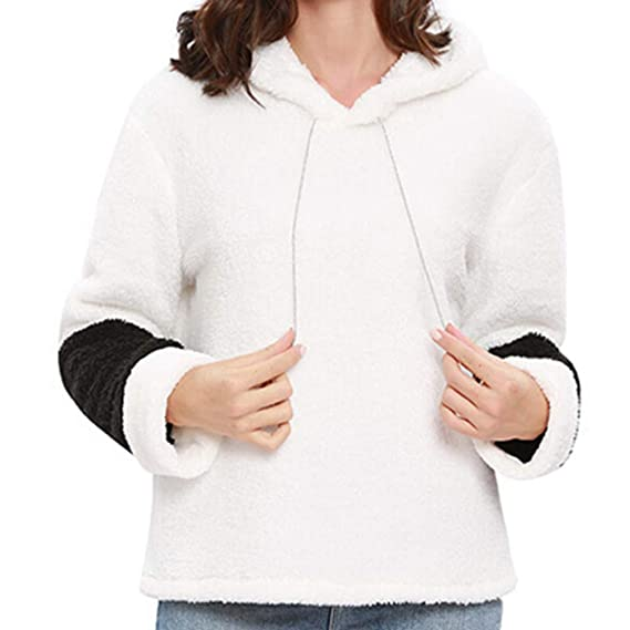 Amazon.com: NRUTUP Women Autumn Winter Long Sleeve Hooded Panelled Sweatshirt Pullover Blouse Tops: Clothing