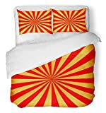 Emvency 3 Piece Duvet Cover Set Breathable Brushed Microfiber Fabric Red and Golden Rays of Carnival Circus Sunlight Holiday Abstract Retro Bedding Set with 2 Pillow Covers Full/Queen Size