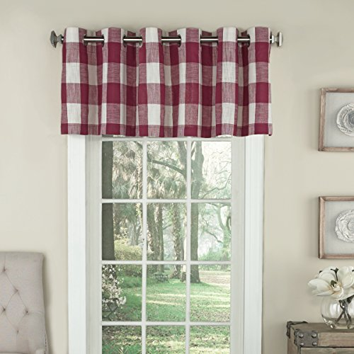 Lorraine Home Fashions 09570-V-00148 RED Courtyard Grommet Window Curtain Valance, Red, 53