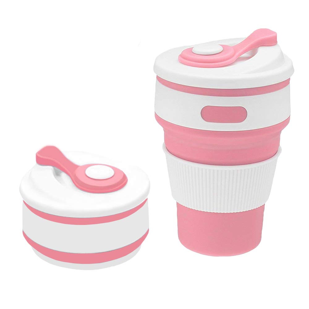 Collapsible Coffee Cup,Portable &Reusable Coffee Cup,Travel Coffee Mugs Collapsible with Lid Fits in Your Pocket Or Bag for Business, Home, Travel, Camping(12oz 350ml, Leak Proof, BPA Free) (Pink) Camping(12oz 350ml BPA Free) (Pink) Amament