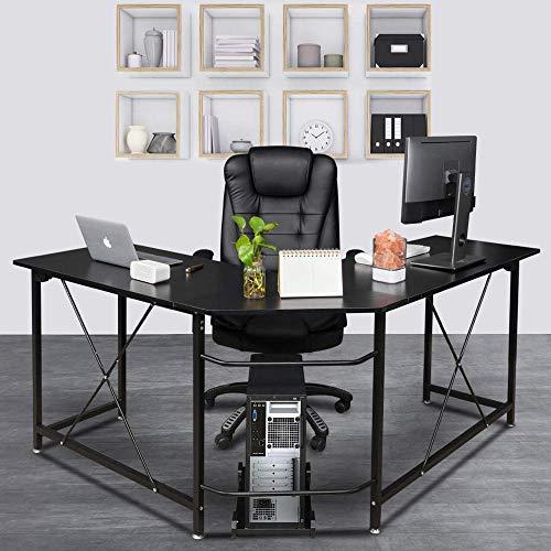 Bonnlo Reversible L Shaped Desk Black Modern Home Office Corner Desk 3-Piece L-Shape Computer Desk with Reversible Tabletop ()