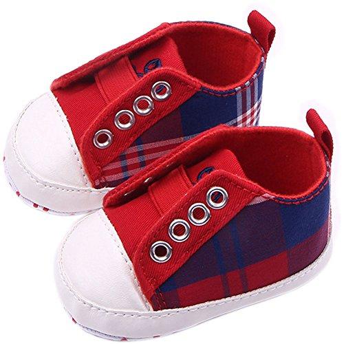 frontonline Baby Boy infantil Prewalker suave de cuadros suave calzado antideslizante rojo rosso Talla:12-18months rosso