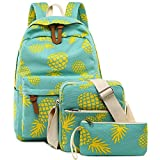 Bookbag School Backpack Girls Cute Schoolbag for 15 inch Laptop Shoulder Bag 3-piece Travel Daypack for Teen Boys Kids Womens(Yellow Pineapple 1)