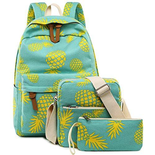 Bookbag School Backpack Girls Cute Schoolbag for 15 inch Laptop Shoulder Bag 3-piece Travel Daypack for Teen Boys Kids Womens(Yellow Pineapple 1)