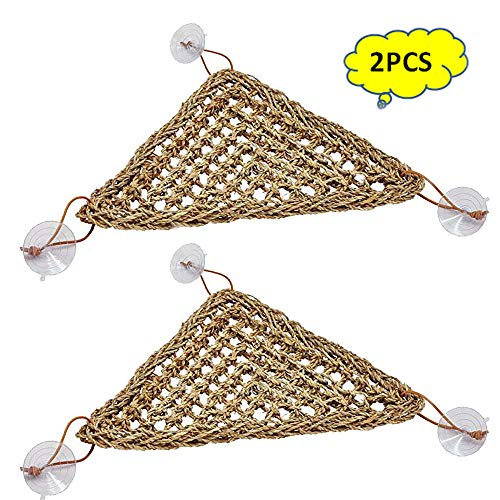 (Reptile Lizard Bearded Dragon Hammock Reptile Lounger,100% Natural Grass Fibers Hammock Bed for Anoles, Bearded Dragons, Geckos, Iguanas, and Hermit Crabs(2 Packs))