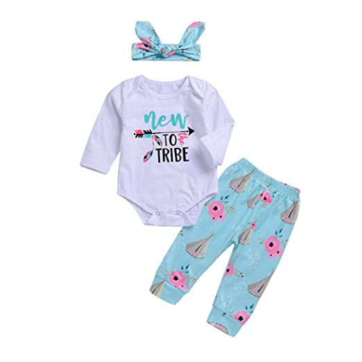 38c47d1bb256 Amazon.com  2018 New 3Pcs Infant Baby Boys Girls New to Tribe Letter ...