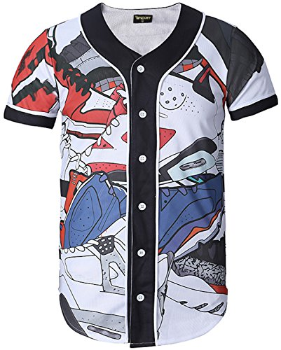 Pizoff Unisex Short Sleeve Baseball Collar Button Down 3D Funny Colorful Cotton Print Breathable Dance Basketball Team Baseball Shirt Y1724-29-XL