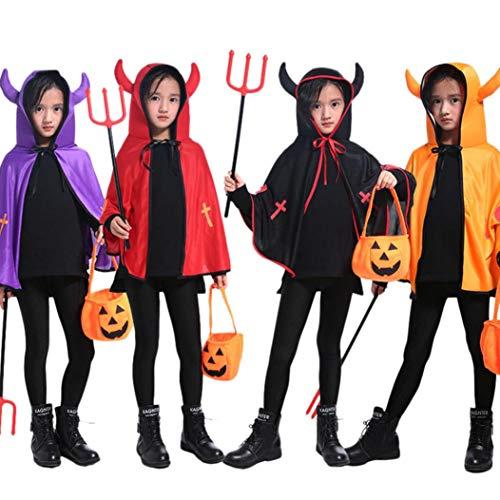 Nero mantellina diavolo Bambina Adulto 3D Bambino Costume Costume Mantello di bue magico costume prestazione da piccolo scialle BYSTE Robe Halloween Corno w6qCRR