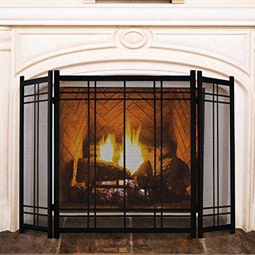 エクストラワイド3パネル暖炉スクリーン、ウッドバーナー/ストーブ/ガス火災用のモダンなスタイルの錬鉄製金属装飾メッシュ、130cm / 51インチ幅